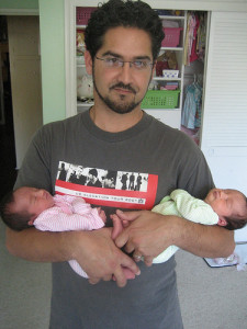 Dad with Twins