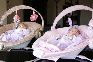 Twins in Bouncy Seat