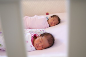 Sleeping Twins in Crib