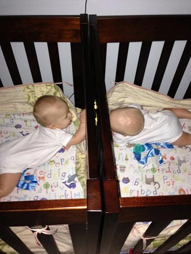 Twins in cribs