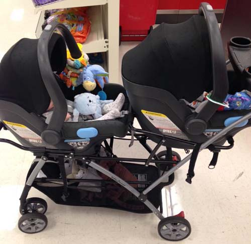 Side view of a Snap-N-Go Double Stroller
