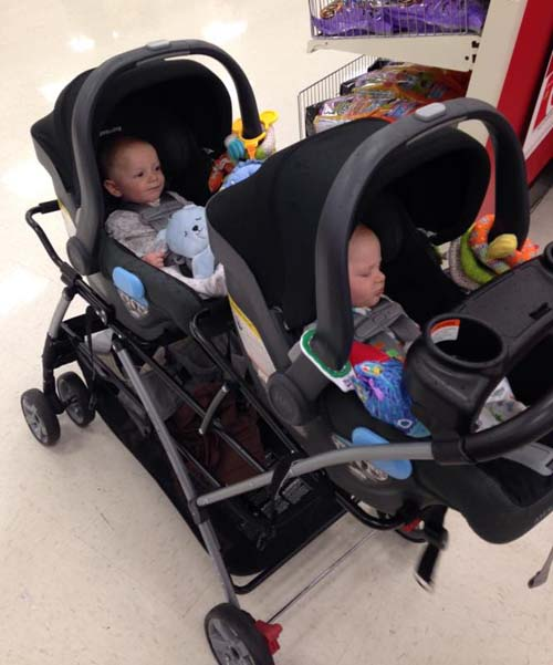 Baby Trend Snap-N-Go Double Stroller with car seats