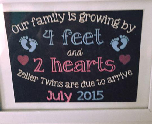 Our family is growing by 4 feet and 2 hearts.