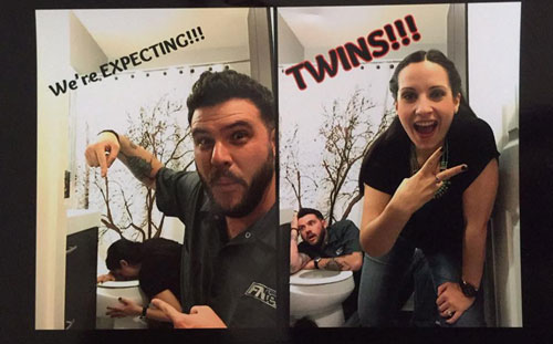 Mom and Dad react to pregnancy and twin news in bathroom
