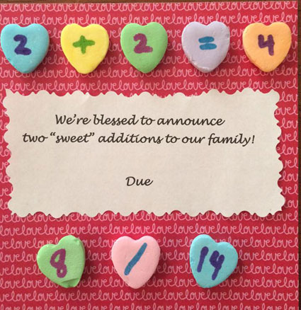 Candy hearts twin pregnancy announcement