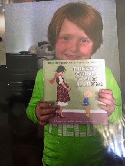 Children's book cover modified to share news of twin pregnancy