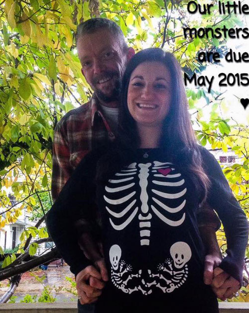 Our little monsters are due twin pregnancy announcement