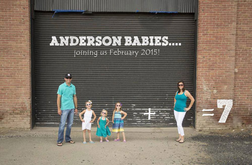 Family featuring twin math to announce pregnancy