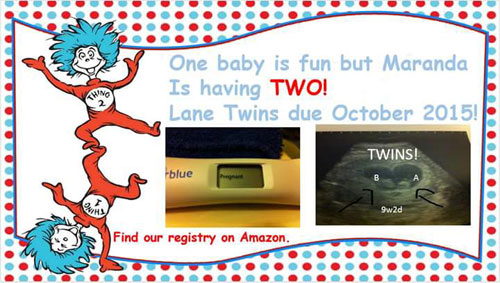 Thing 1 and Thing 2 twin pregnancy announcement