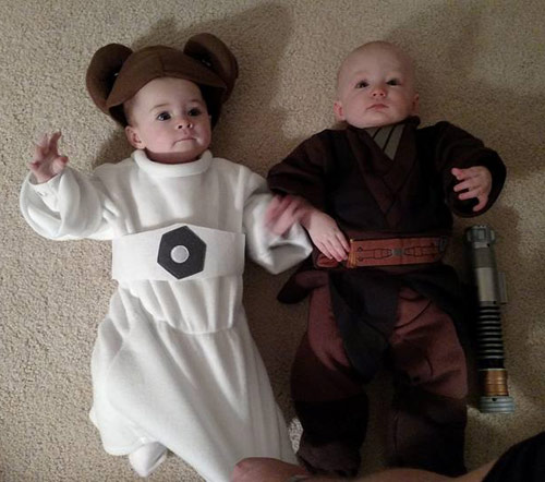 Luke and Leia infant twin costumes