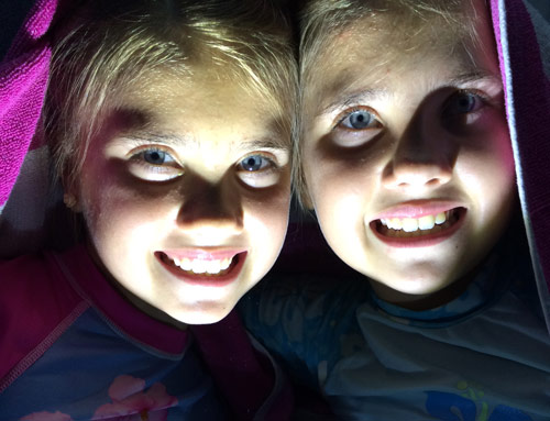 Girls with the Coleman ILX500 Illumilast 75L Flashlight