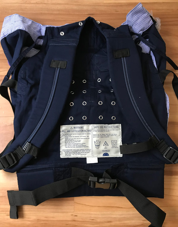Back side of the Weego TWIN Baby Carrier