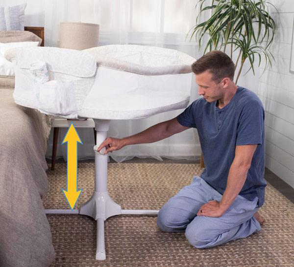 The Bassinest is height adjustable to fit around your bed.