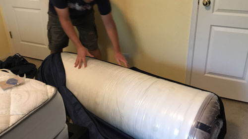 DreamCloud Mattress Rolled Up
