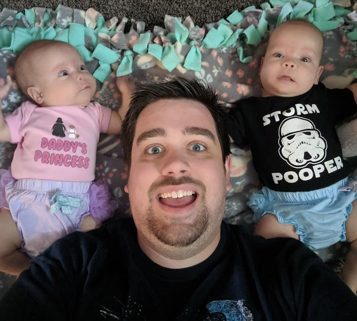 Dad with his twins
